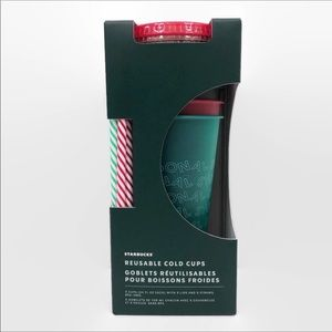 Starbucks holiday reusable 6 pack cold cups NWT
